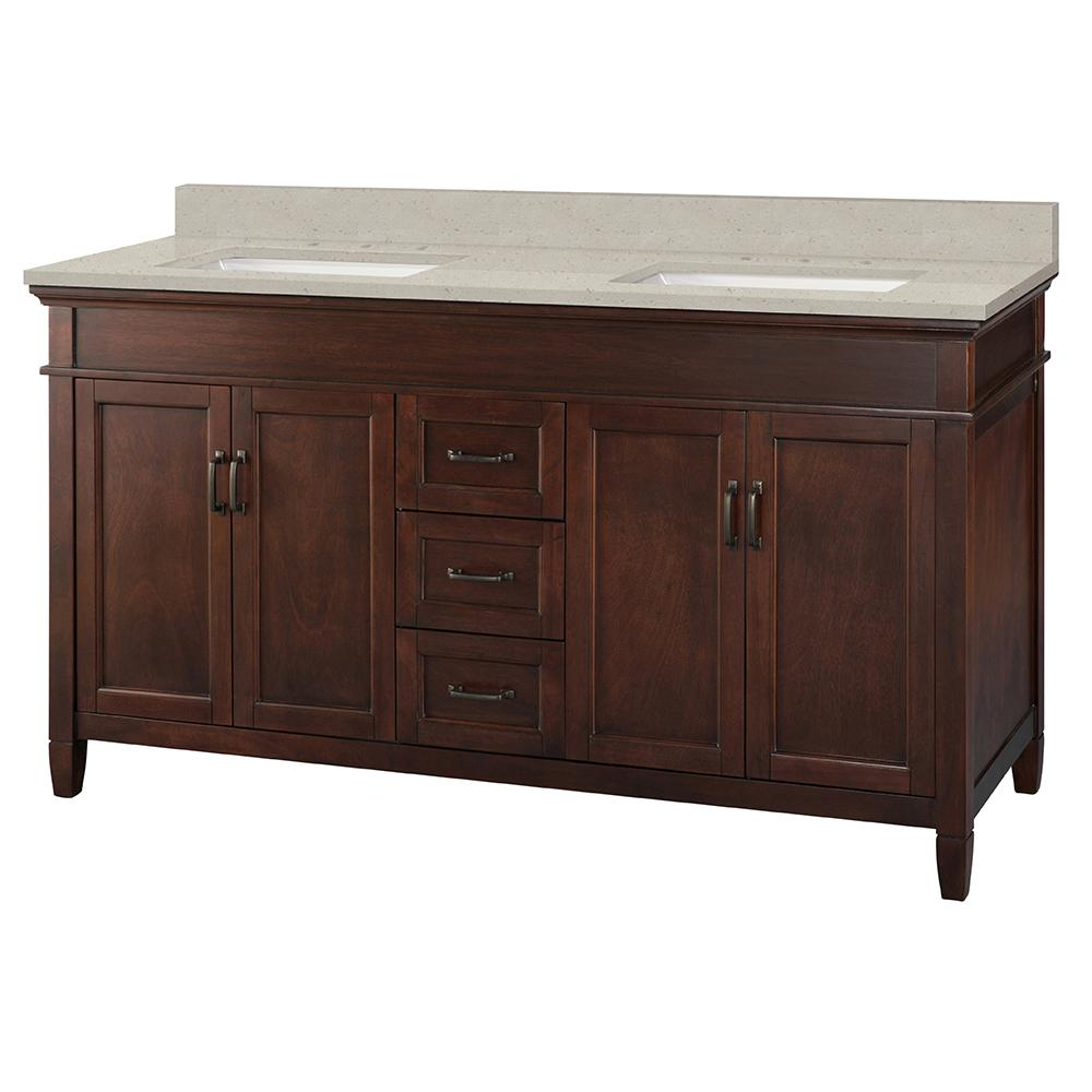Home Decorators Collection Ashburn 61 in. W x 22 in. D Vanity Cabinet in Mahogany with Engineered Quartz Vanity Top in Stoneybrook with White Sink