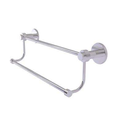 Mercury Collection 24 in. Double Towel Bar with Groovy Accent in Polished Chrome