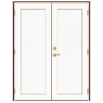 59.5 in. x 79.5 in. W-2500 Mesa Red Left-Hand Inswing French Wood Patio Door