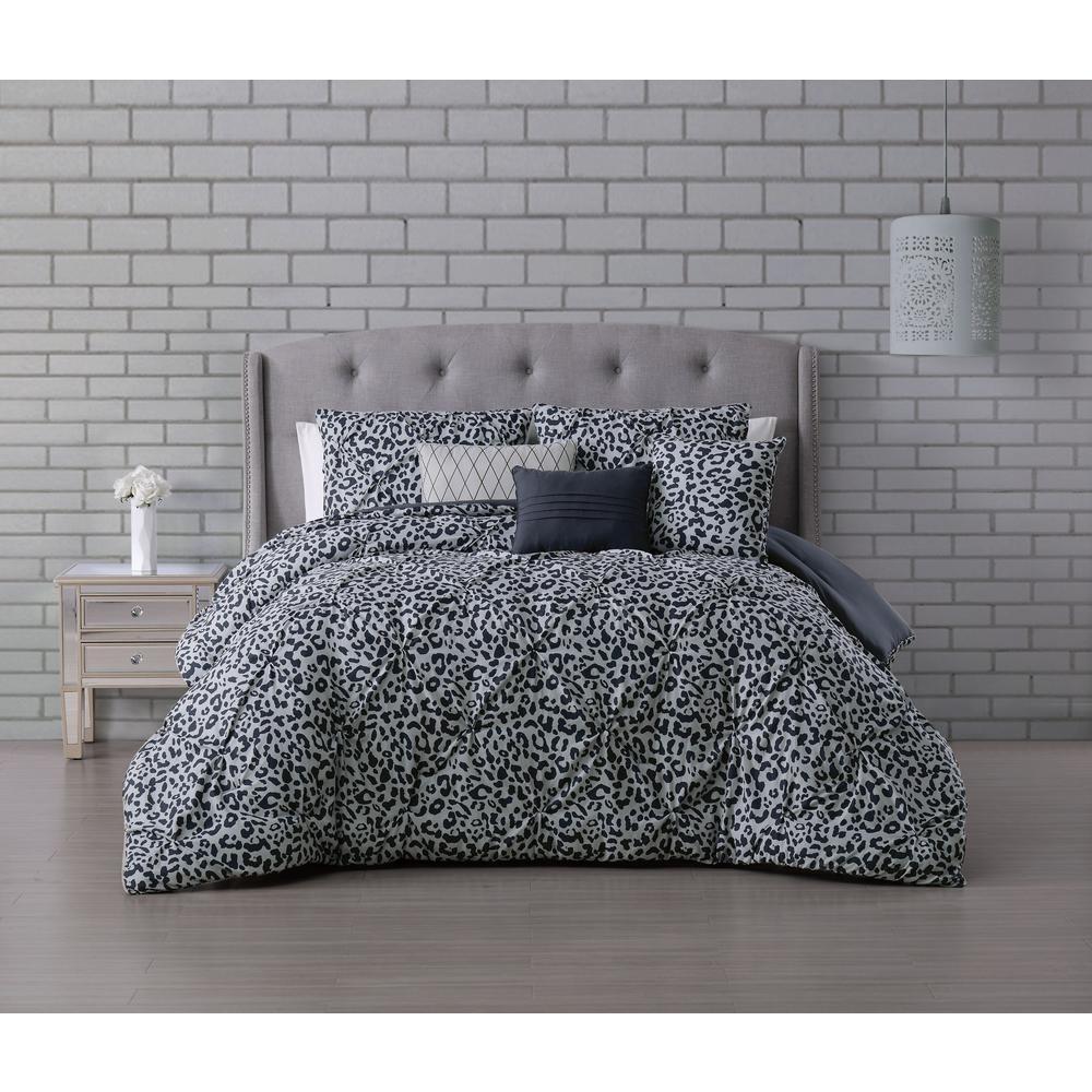 Corinna 6-Piece Light Gray Queen Pinch Pleat Comforter Set