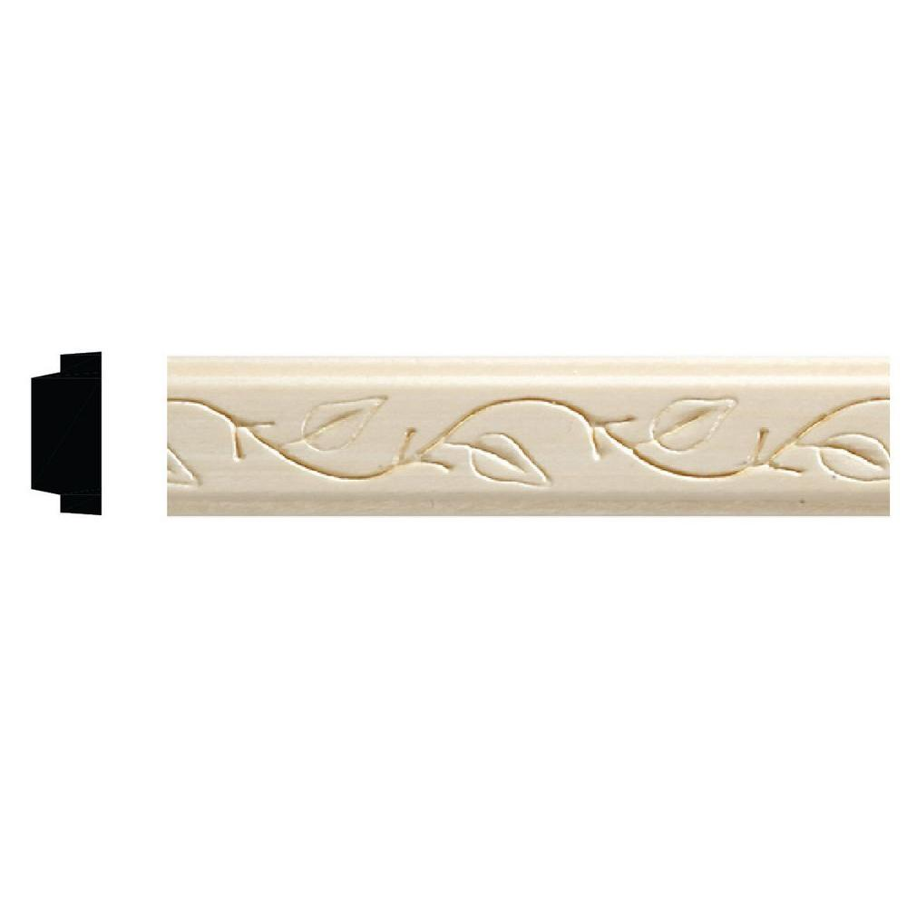 Ornamental Mouldings 1425 8 3 8 In X 7 8 In X 96 In White Hardwood Embossed Ivy Decorative Moulding 1425 8whw The Home Depot