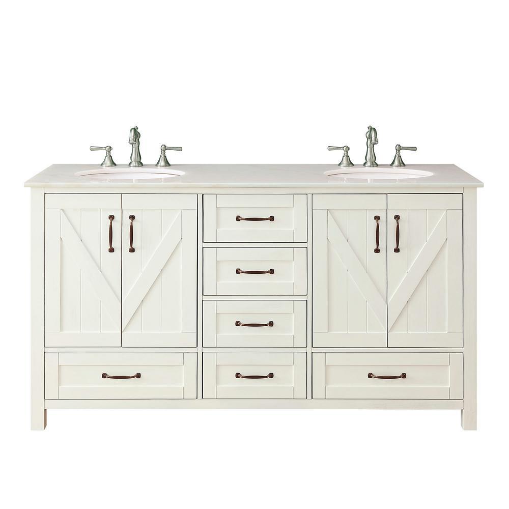 Glaston 62 in. W x 22 in. D Bath Vanity in White Wash with Marble Vanity Top in White with White Basin