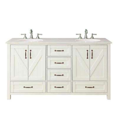 Glaston 62 in. W x 22 in. D Bath Vanity in White Wash with Marble Vanity Top in White with White Basin