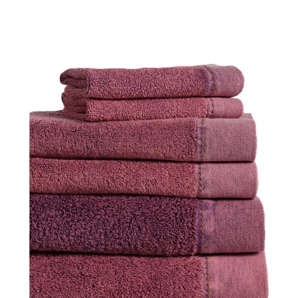 MO Stonewash 6-Piece 100% Cotton Bath Towel Set in Berry