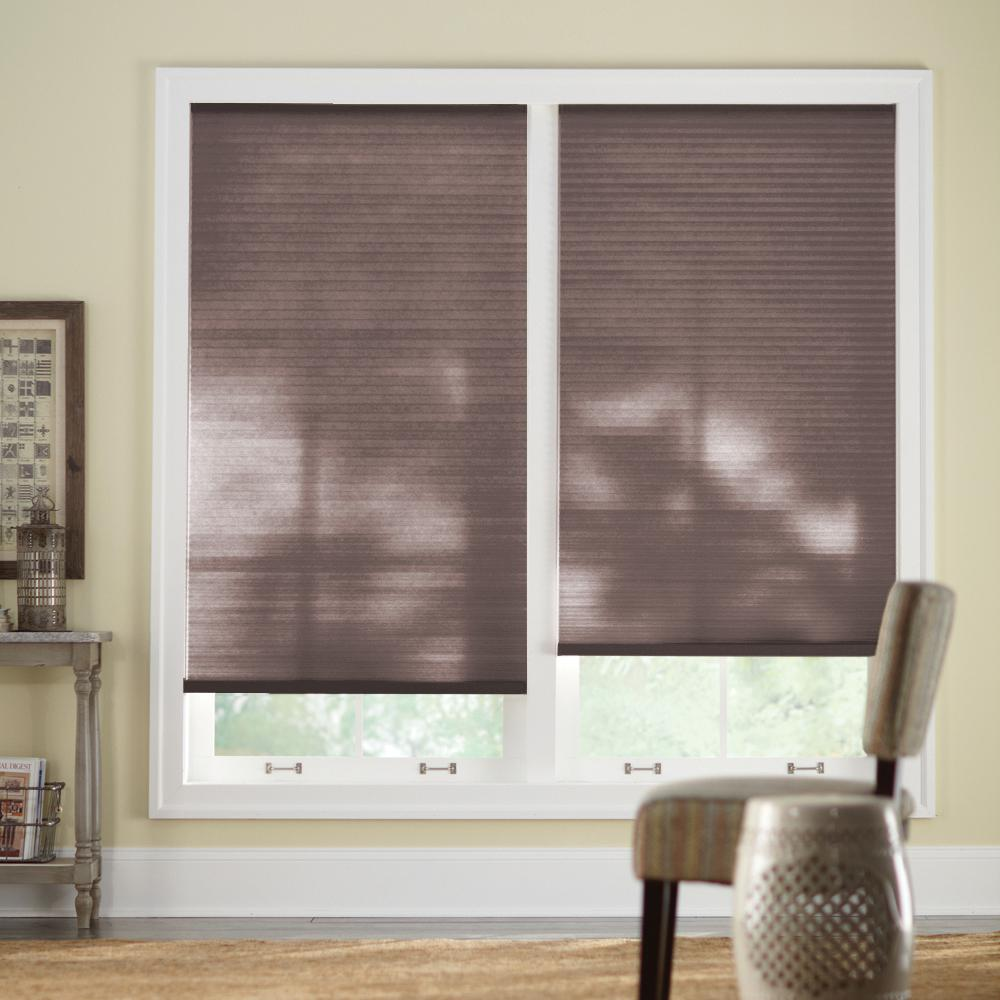 Chocolate 9/16 in. Cordless Light Filtering Cellular Shade - 42.625 in.