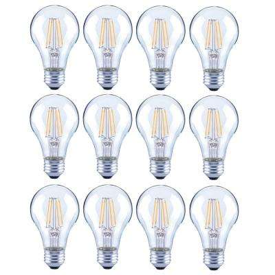 60-Watt Equivalent A19 General Purpose Dimmable Clear Glass Filament LED Light Bulb Soft White (12-Pack)