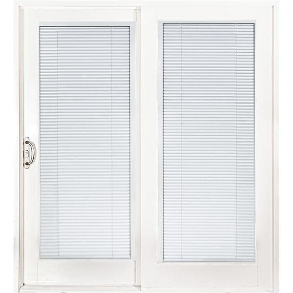 72 in. x 80 in. Smooth White Left-Hand Composite PG50 Sliding Patio Door with Low-E Built in Blinds