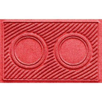 Red 18 in. x 28 in. Dog Bowl Wave Pet Mat