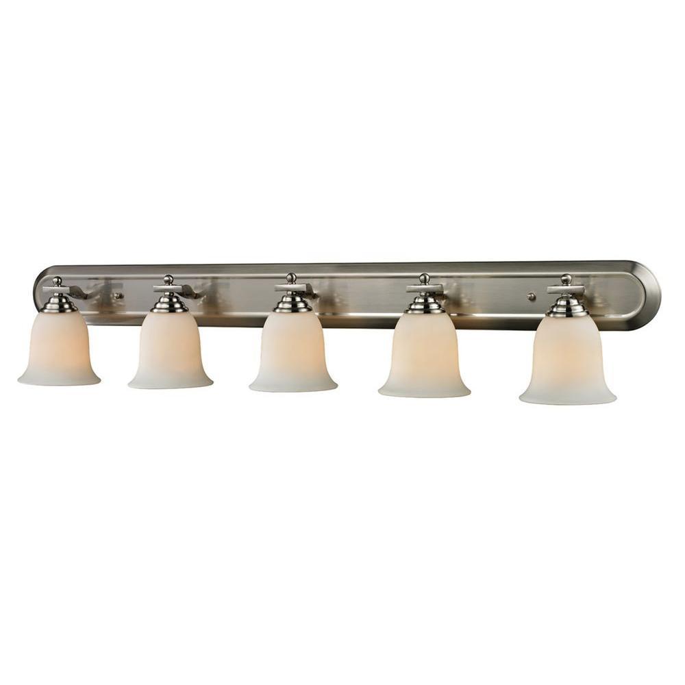 Lawrence 5-Light Brushed Nickel Incandescent Bath Vanity Light