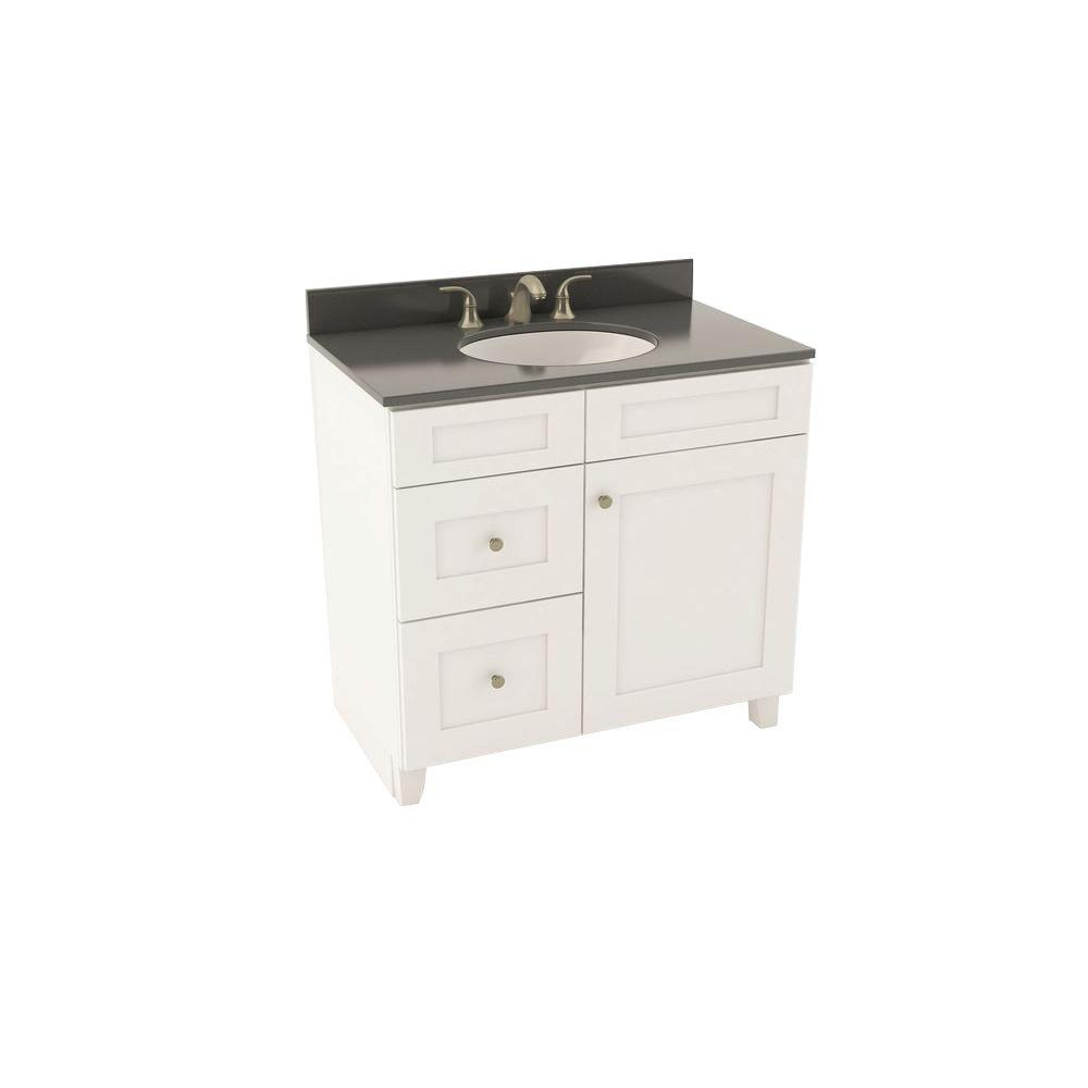 Reading 37 in. Vanity in Linen with Left Drawers and Silestone
