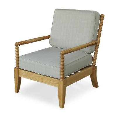 Baytown Solid White Oak Wood Outdoor Lounge Chair with Beige Cushion (2-Pack)