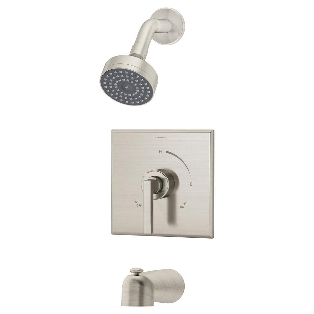 Duro 1-Handle 1-Spray Tub and Shower Faucet in Satin Nickel (Valve