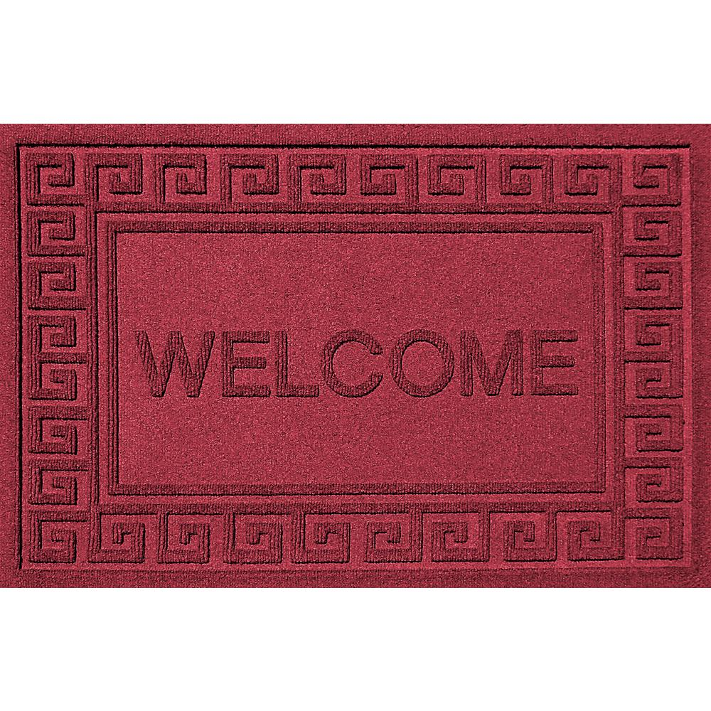 Nice Aqua Shield Greek Welcome Red Black 24 In. X 36 In. Polypropylene Door Mat
