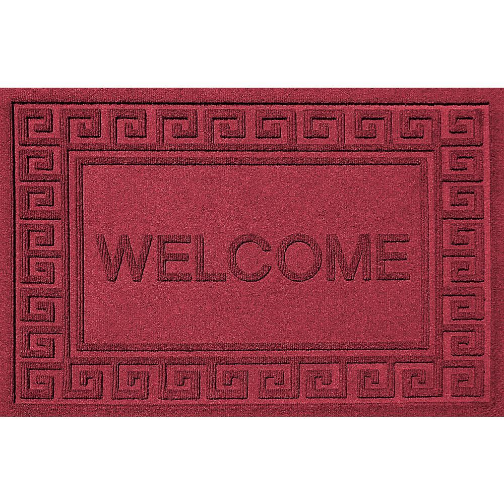 Greek Welcome Red Black 24 in. x 36 in. Polypropylene Door Mat