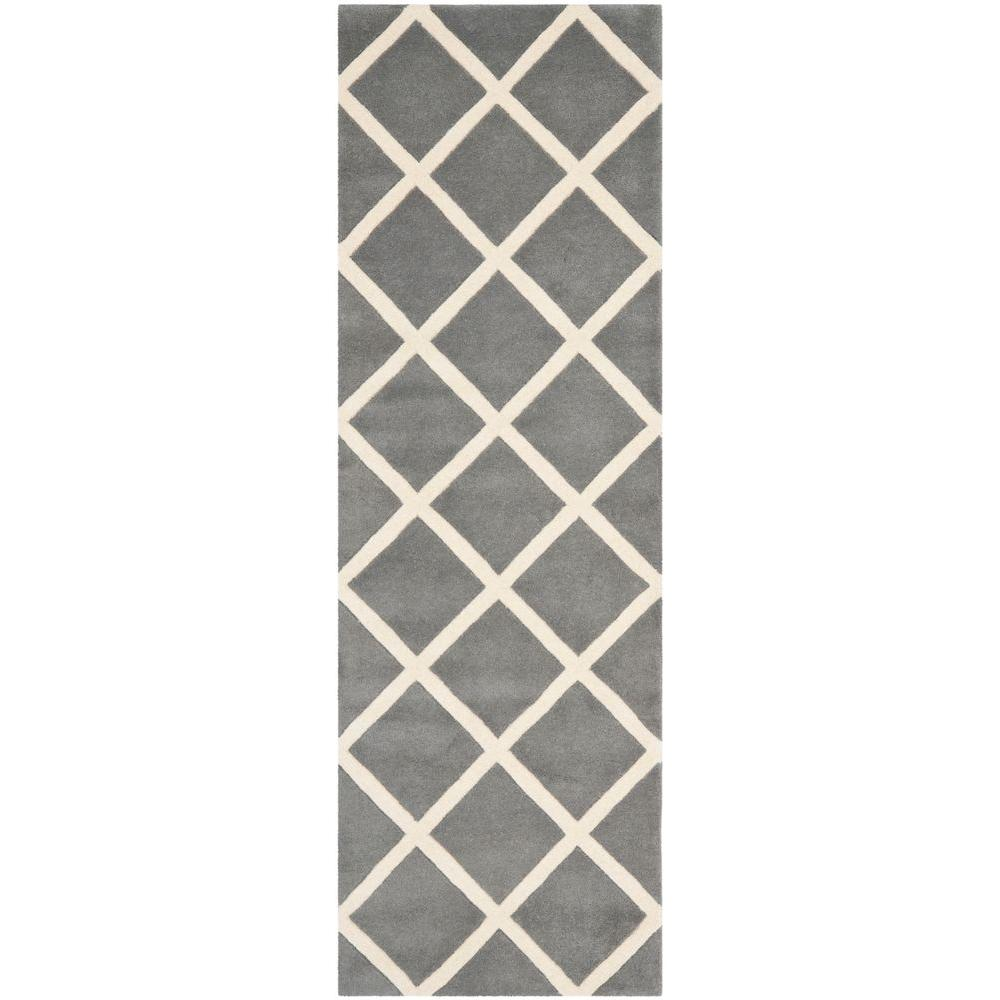 Safavieh Chatham Dark Grey/Ivory 2 ft. 3 in. x 5 ft. Runner