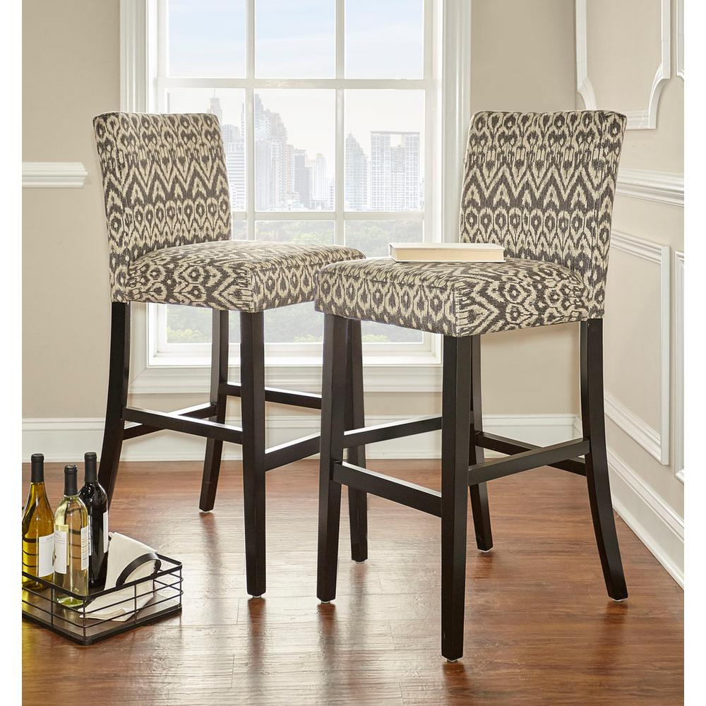 null Morocco 30 in. Gray Cushioned Bar Stool