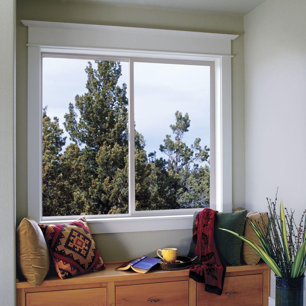 35.5 in. x 35.5 in. V-2500 Series White Vinyl Left-Handed Sliding Window with Fiberglass Mesh Screen