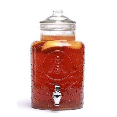 1.4 Gal. Clear Honey Bee Glass Beverage Drink Dispenser with Glass Lid