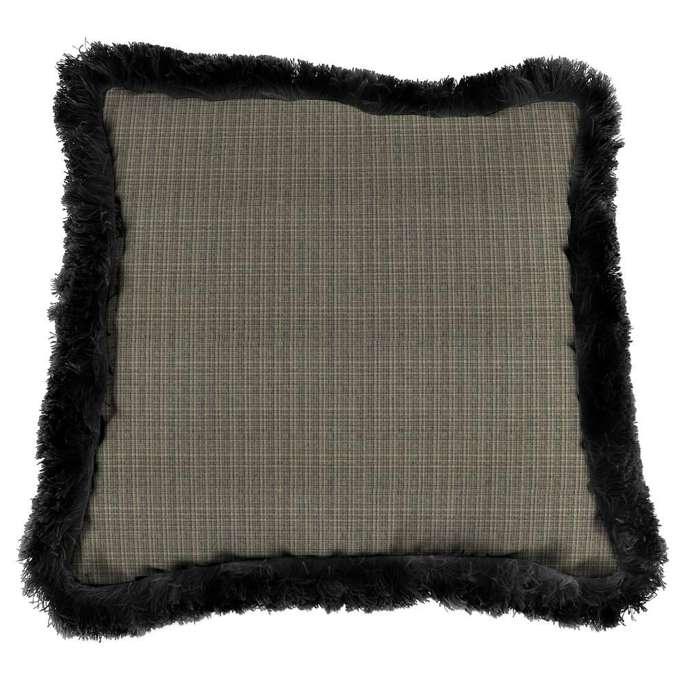 Sunbrella Surge Charcoal Square Outdoor Throw Pillow with Black Fringe