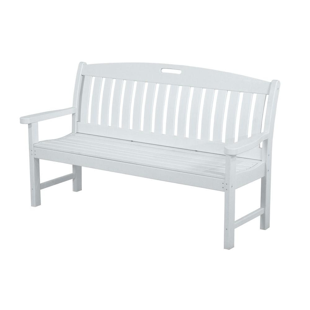 Nautical 60 in white plastic outdoor patio bench white green