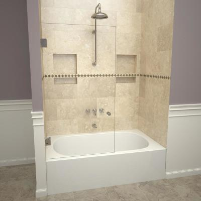 2000V Series 78 in. W x 60 in. H Frameless Pivot Tub Door in Polished Chrome with Back-to-Back Knob and Clear Glass