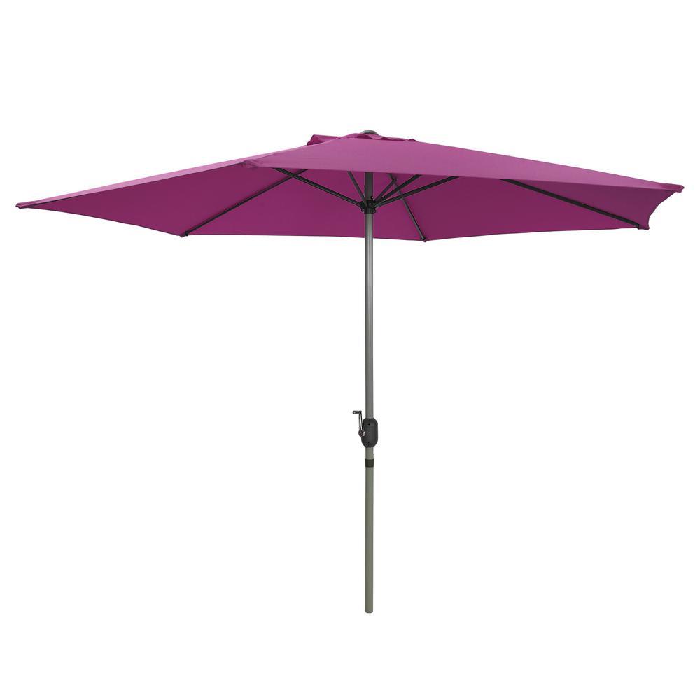 9 ft. Aluminum Pole Market Outdoor Patio Umbrella in Pinkish Purple