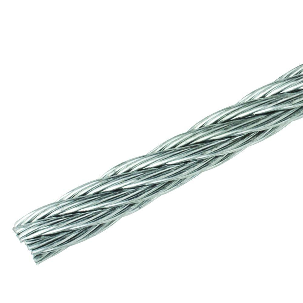 Everbilt 1/4 in. Galvanized Uncoated Wire Rope-809766 - The Home Depot