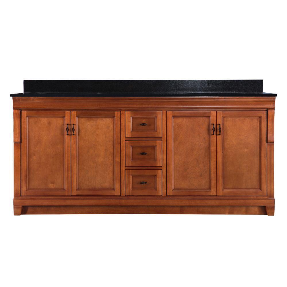 Home Decorators Collection Naples 72 in. W x 22 in. D Double Bath Vanity in Warm Cinnamon with Granite Vanity Top in Black