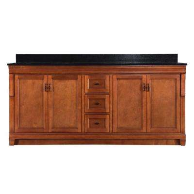 Naples 72 in. W x 22 in. D Double Bath Vanity in Warm Cinnamon with Granite Vanity Top in Black