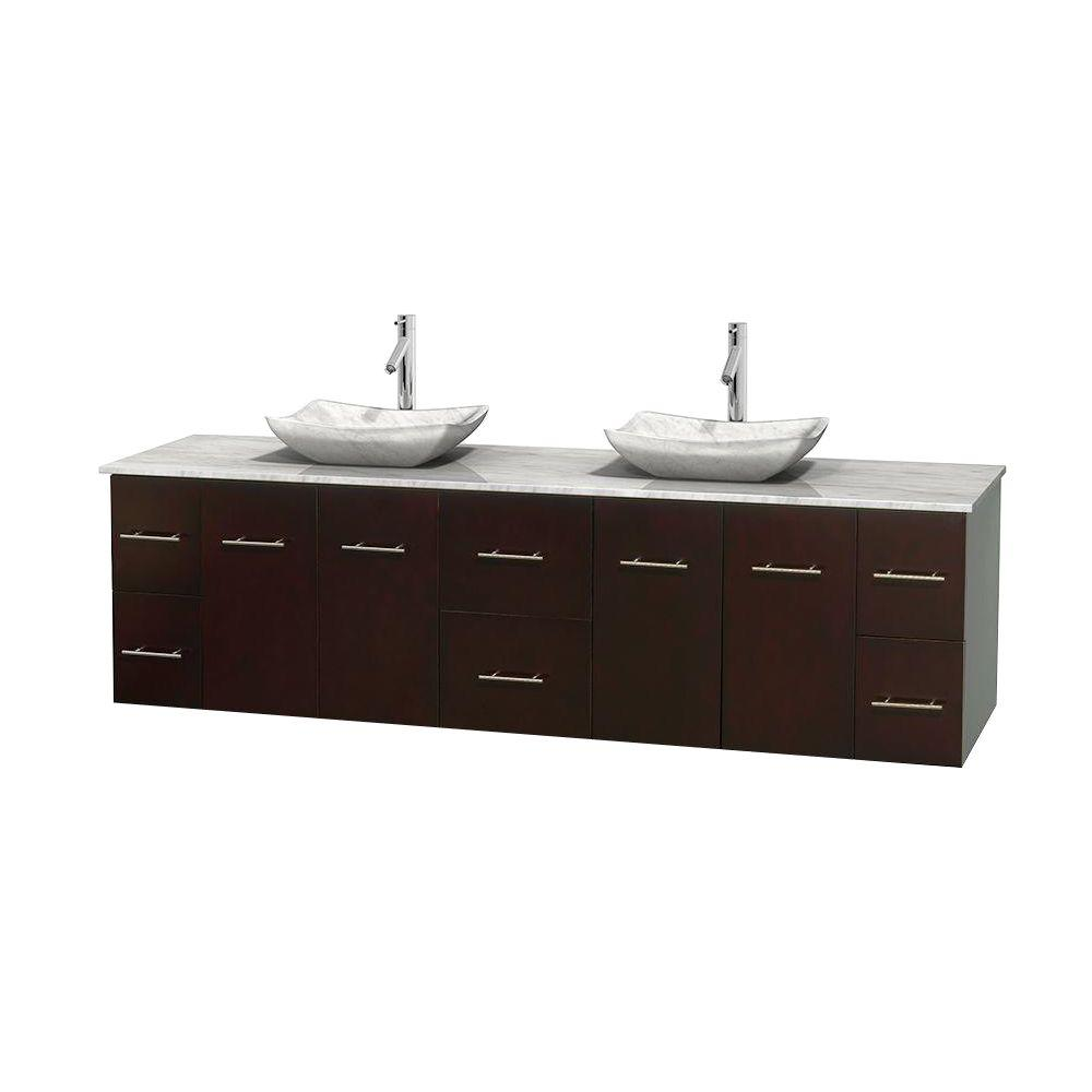 Wyndham Collection Centra 80 in. Double Vanity in Espresso with Marble Vanity Top in Carrara White and Sinks