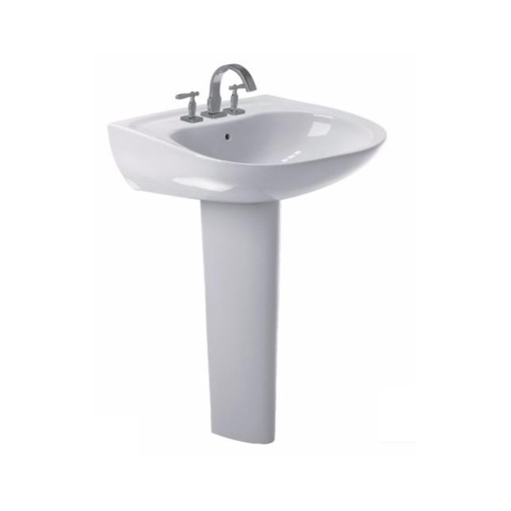 Toto Prominence 26 In Pedestal Combo Bathroom Sink With 4 In Faucet Holes In Cotton White