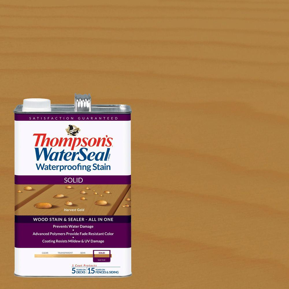 Thompson's WaterSeal 1 gal. Solid Harvest Gold Waterproofing Stain Exterior Wood