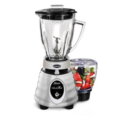Whirlwind Heritage Blend 48 oz. 1000 Plus 2 Speed Blender in Chrome with Food Processor and Glass Blender Jar