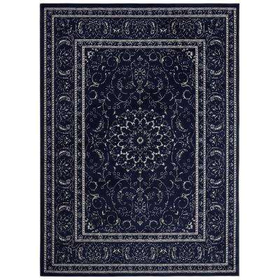 Jasmin Collection Navy and Ivory 7 ft. 10 in. x 9 ft. 10 in. Oriental Medallion Area Rug