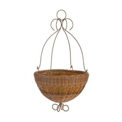 16 in. Antique Brown Resin Wicker Hanging Planter