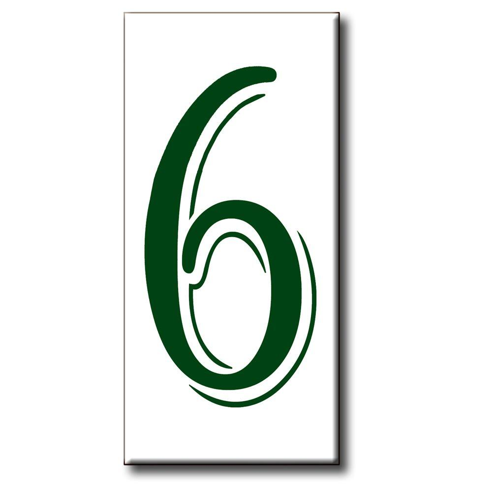 null 3 in. x 6 in. Green Shadow Number 6
