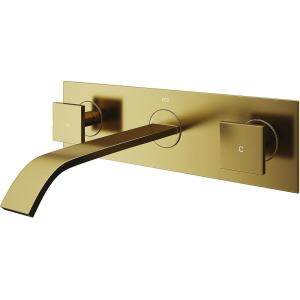 Titus 2-Handle Wall Mount Bathroom Faucet in Matte Gold