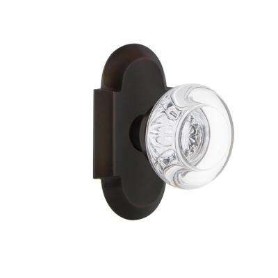 Cottage Plate 2-3/8 in. Backset Timeless Bronze Passage Hall/Closet Round Clear Crystal Glass Door Knob