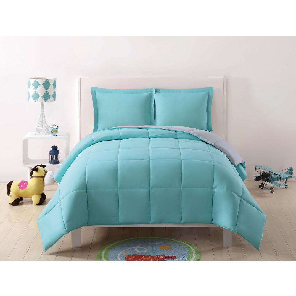 . Anytime Solid Turquoise and Grey Reversible Full Queen Comforter Set   3 Piece