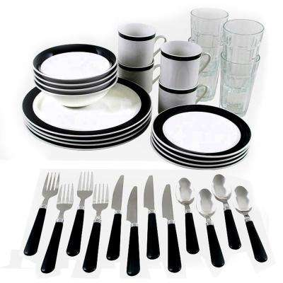 Total Kitchen Essex 32-Piece Black and White Combo Dinnerware Set