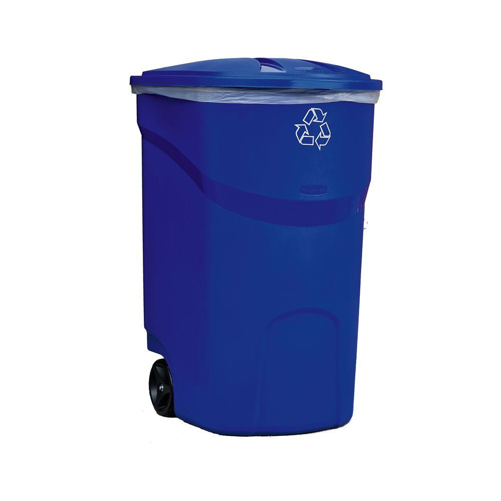 45 Gal. Roughneck Blue Wheeled Recycling Trash Container