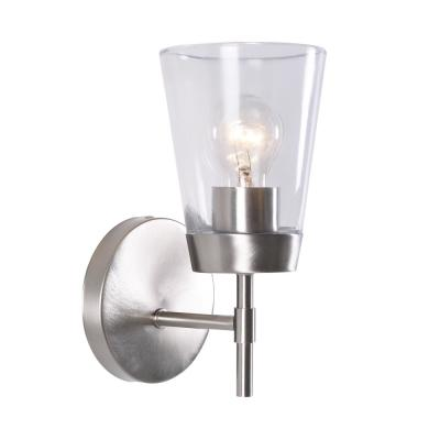 Delgado 5 in. Brushed Steel Sconce with Clear Glass Shade
