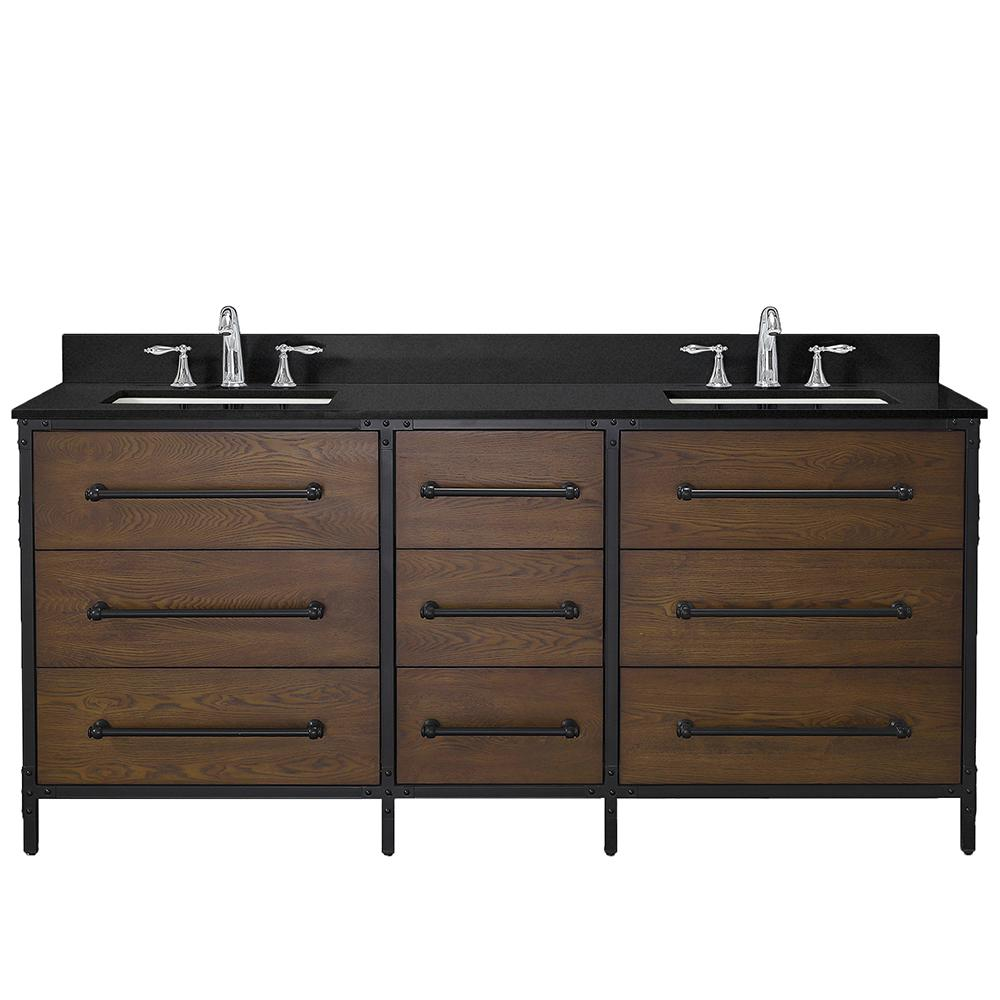 Home Decorators Collection Grandburgh 73 in. W x 22 in. D Bath Vanity in Coffee Swirl with Granite Vanity Top in Black with White Sinks