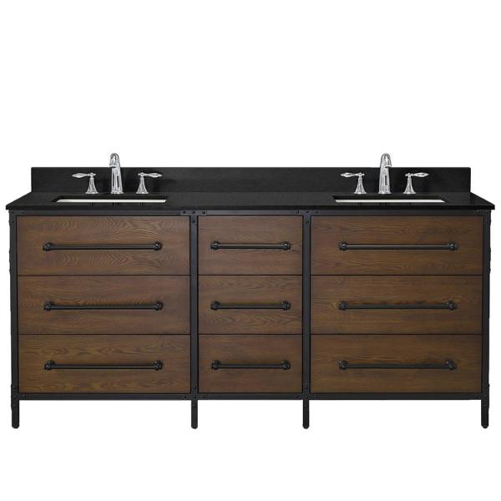 Grandburgh 73 in. W x 22 in. D Bath Vanity in Coffee Swirl with Granite Vanity Top in Black with White Sinks