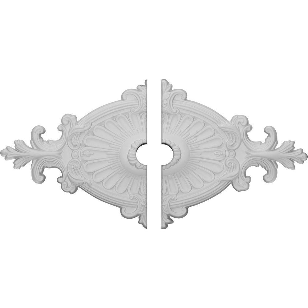 Ekena Millwork 1-1/2 in. x 23-1/2 in. x 12-1/4 in. Polyurethane Quentin Ceiling Medallion, 2-Piece Moulding