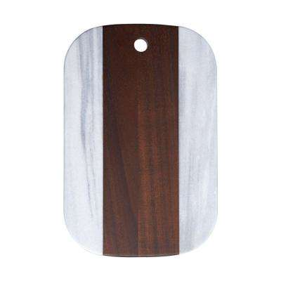 12 in. Brown Marble Acacia Wood Cheese Server