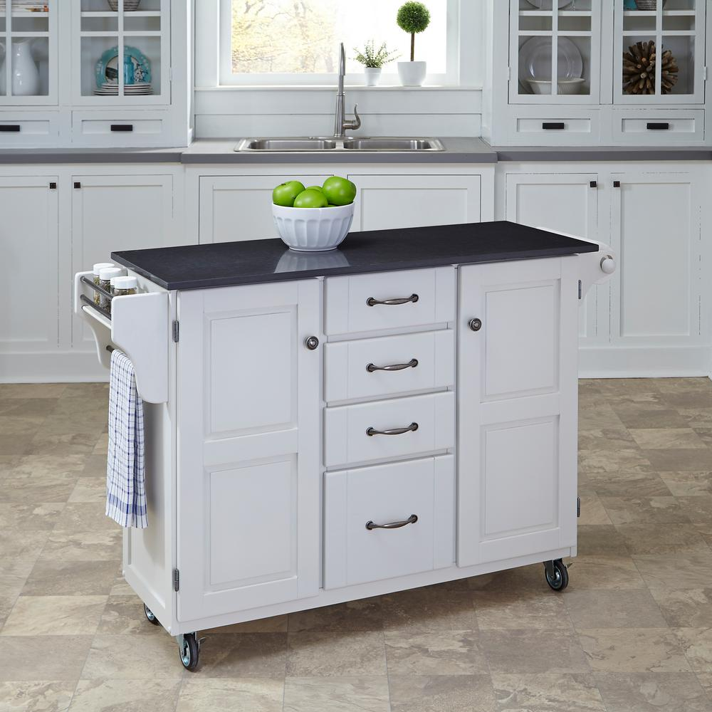 Create-a-Cart White Kitchen Cart With Quartz Top