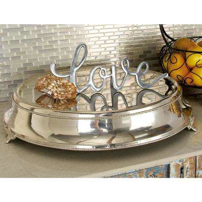 19 in. Silver Stainless Steel Dais Cake Stand