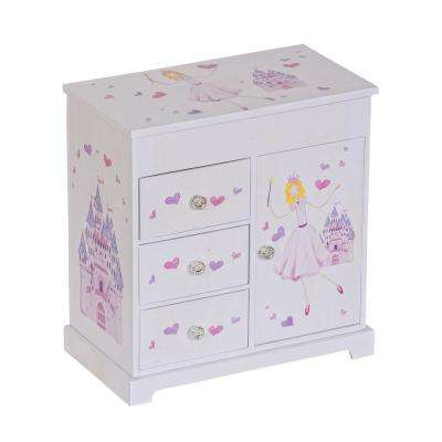 Adalyn Girl's White Fashion Paper Musical Ballerina Jewelry Box