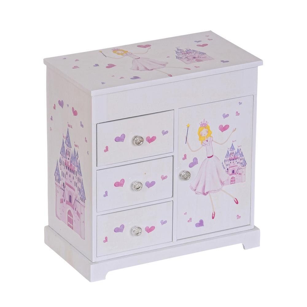 Mele Adalyn Girls White Fashion Paper Musical Ballerina Jewelry Box